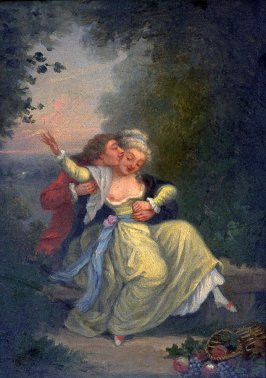 Forest scene with two lovers