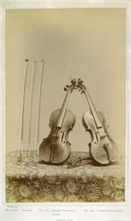 Three Bows and Two Violins, plate 14 from the album, The Violin Gallery