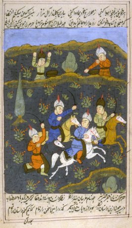(Galloping Warriors), page from a Shahnamah manuscript