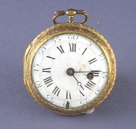 Watch with transparent back replaced hands