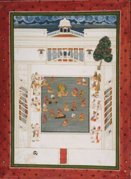 Untitled (Maharana Jawan Singh with companions bathing in pool)