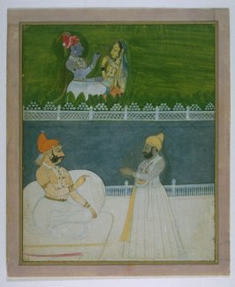 Maharaja of Kishangar Conversing with Harmin Singh and Krishna Conversing with Radha
