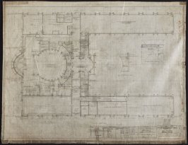 California Palace of the Legion of Honor: Terrace Floor Plan, second from a group of nineteen presentation drawings