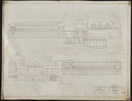 California Palace of the Legion of Honor: Sections, ninth from a group of nineteen presentation drawings