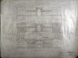 California Palace of the Legion of Honor: Elevations, seventh from a group of nineteen presentation drawings