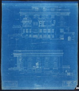 A. B. Spreckels Residence, Washington and Octavia Streets: North and South Elevations, sixth from a group of eleven architectural blueprints
