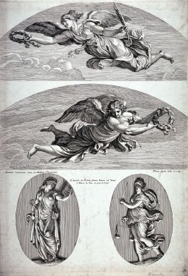 Prudence and Justice with Two Victories, pl. 13 from the series Galeriae Farnesianae Icones Romae in Aedibus... after the frescoes by Annibale Carracci in the Farnese Palace