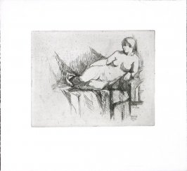 Untitled (Nude Lounging Woman Looking Left)