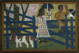Untitled (Figures with Umbrellas at Fence)