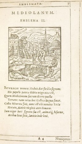 Mediolanum (Milan), emblem 2 in the book Emblemata by Andrea Alciato (Antwerp: Plantin [under the direction] of Raphelengius, 1608)