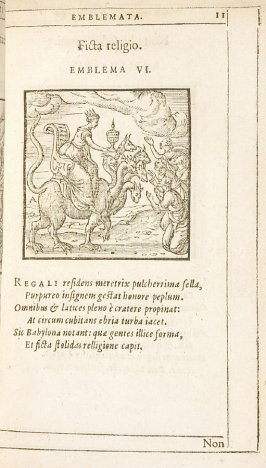 Ficta religio (False religion), emblem 6 in the book Emblemata by Andrea Alciato (Antwerp: Plantin [under the direction] of Raphelengius, 1608)