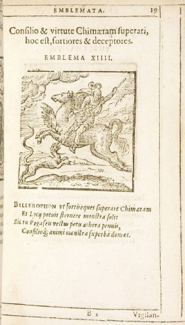 Consilio & virtute Chimaeram superari, hoc est, fortiores & deceptores (Wisdom and courage defeat Chimaera [i.e. the powerful and deceivers]), emblem 14 in the book Emblemata by Andrea Alciato (Antwerp: Plantin [under the direction] of Raphelengius, 1608)