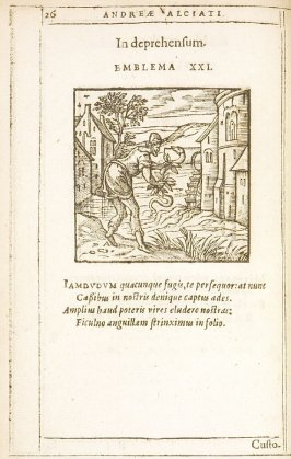 In deprehensum (Caught), emblem 21 in the book Emblemata by Andrea Alciato (Antwerp: Plantin [under the direction] of Raphelengius, 1608)