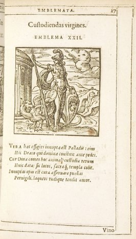 Custodiendas virgines (Girls must be guarded), emblem 22 in the book Emblemata by Andrea Alciato (Antwerp: Plantin [under the direction] of Raphelengius, 1608)