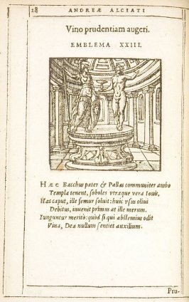 Vino prudentiam augeri (Wisdom increased by wine), emblem 23 in the book Emblemata by Andrea Alciato (Antwerp: Plantin [under the direction] of Raphelengius, 1608)