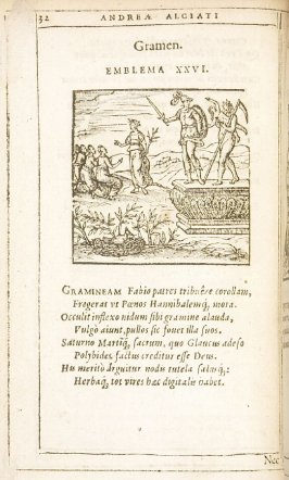 Gramen (Grass), emblem 26 in the book Emblemata by Andrea Alciato (Antwerp: Plantin [under the direction] of Raphelengius, 1608)