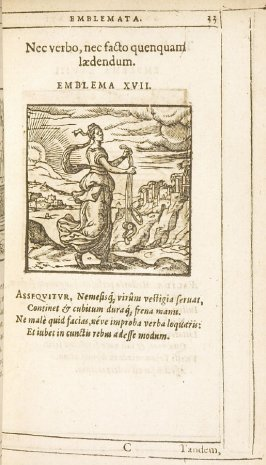 Nec verbo, nec facto quenquam laedendum (Injure no one, either by word or deed), emblem 27 in the book Emblemata by Andrea Alciato (Antwerp: Plantin [under the direction] of Raphelengius, 1608)