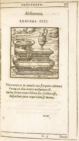 Abstinentia (Integrity), emblem 31 in the book Emblemata by Andrea Alciato (Antwerp: Plantin [under the direction] of Raphelengius, 1608)