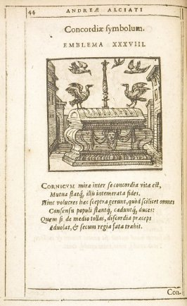 Omnia mea mecum porto (All that is mine I carry with me), emblem 37 in the book Emblemata by Andrea Alciato (Antwerp: Plantin [under the direction] of Raphelengius, 1608)