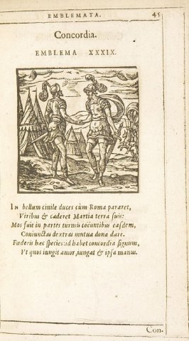 Concordia (Concord), emblem 39 in the book Emblemata by Andrea Alciato (Antwerp: Plantin [under the direction] of Raphelengius, 1608)