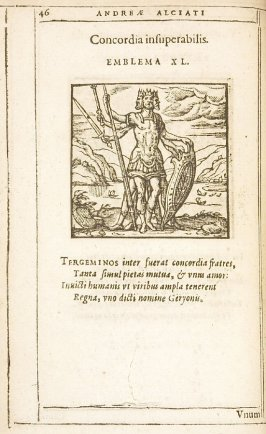 Concordia insuperabilis (Concord is insuperable), emblem 40 in the book Emblemata by Andrea Alciato (Antwerp: Plantin [under the direction] of Raphelengius, 1608)