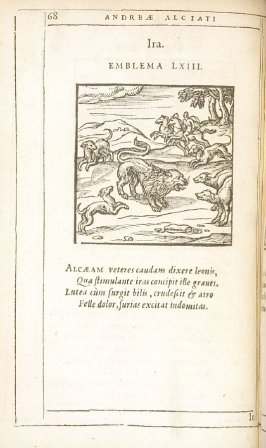 Ira (Rage), emblem 63 in the book Emblemata by Andrea Alciato (Antwerp: Plantin [under the direction] of Raphelengius, 1608)