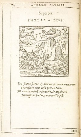 Superbia (Pride), emblem 67 in the book Emblemata by Andrea Alciato (Antwerp: Plantin [under the direction] of Raphelengius, 1608)