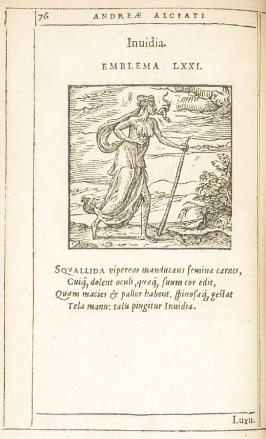 Invidia (Envy), emblem 71 in the book Emblemata by Andrea Alciato (Antwerp: Plantin [under the direction] of Raphelengius, 1608)