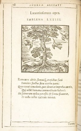 Luxuriosorum opes (The wealth of the dissipated), emblem 73 in the book Emblemata by Andrea Alciato (Antwerp: Plantin [under the direction] of Raphelengius, 1608)
