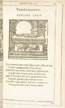 Tumulus meretricis (The courtesan's tomb), emblem 74 in the book Emblemata by Andrea Alciato (Antwerp: Plantin [under the direction] of Raphelengius, 1608)