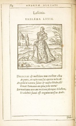 Lascivia (Wantonness), emblem 79 in the book Emblemata by Andrea Alciato (Antwerp: Plantin [under the direction] of Raphelengius, 1608)