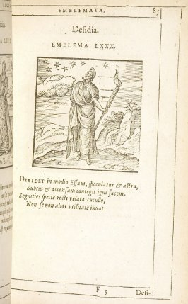 Desidia (Idleness), emblem 80 in the book Emblemata by Andrea Alciato (Antwerp: Plantin [under the direction] of Raphelengius, 1608)