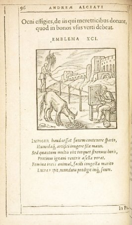 Ocni effigies, de iis qui meretricibus do nant, quod in bonos usus verti debeat (A representation of Ocnus. On those who give to whores what should be turned to good use.), emblem 91 in the book Emblemata by Andrea Alciato (Antwerp: Plantin [under the dir