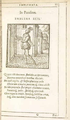 In Parasitos (Professional spongers), emblem 92 in the book Emblemata by Andrea Alciato (Antwerp: Plantin [under the direction] of Raphelengius, 1608)