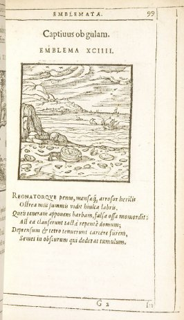 Captivus ob gulam (Caught by greed), emblem 94 in the book Emblemata by Andrea Alciato (Antwerp: Plantin [under the direction] of Raphelengius, 1608)