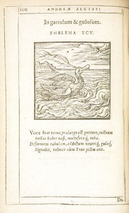 In garrulum & gulosum (Against a noisy and gluttonous fellow), emblem 95 in the book Emblemata by Andrea Alciato (Antwerp: Plantin [under the direction] of Raphelengius, 1608)