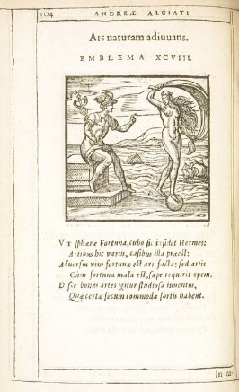 Ars naturam adiuvans (Art assisting nature), emblem 98 in the book Emblemata by Andrea Alciato (Antwerp: Plantin [under the direction] of Raphelengius, 1608)