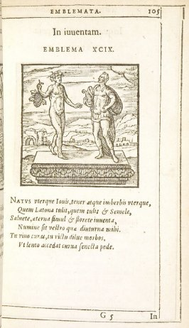 In iuventam (On youth), emblem 99in the book Emblemata by Andrea Alciato (Antwerp: Plantin [under the direction] of Raphelengius, 1608)