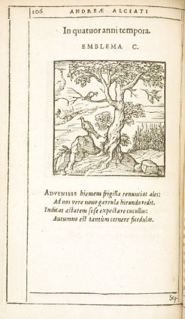 In quatuor anni tempora (The four seasons), emblem 100 in the book Emblemata by Andrea Alciato (Antwerp: Plantin [under the direction] of Raphelengius, 1608)