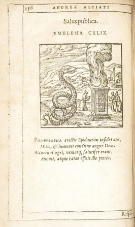 Respublica liberata (The republic restored to freedom), emblem 150 in the book Emblemata by Andrea Alciato (Antwerp: Plantin [under the direction] of Raphelengius, 1608)