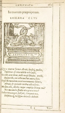 Terminus (Terminus), emblem 157 in the book Emblemata by Andrea Alciato (Antwerp: Plantin [under the direction] of Raphelengius, 1608)