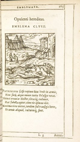 Amicitia etiam post mortem durans (Friendship lasting even beyond death), emblem 159 in the book Emblemata by Andrea Alciato (Antwerp: Plantin [under the direction] of Raphelengius, 1608)