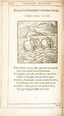 Inanis impetus (Antagonism that achieves nothing), emblem 164 in the book Emblemata by Andrea Alciato (Antwerp: Plantin [under the direction] of Raphelengius, 1608)