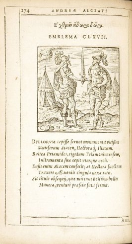 In eum qui truculentia suorum perierit (On one who perished through the savagery of his own people), emblem 166 in the book Emblemata by Andrea Alciato (Antwerp: Plantin [under the direction] of Raphelengius, 1608)