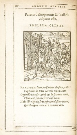 Alius peccat, alius plectitur (One sins and another is punished), emblem 174 in the book Emblemata by Andrea Alciato (Antwerp: Plantin [under the direction] of Raphelengius, 1608)