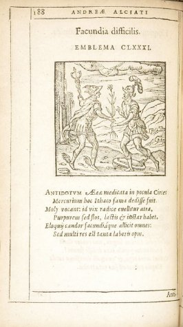 Antiquissima quaeque commentitia (The oldest things are all invented), emblem 182 in the book Emblemata by Andrea Alciato (Antwerp: Plantin [under the direction] of Raphelengius, 1608)