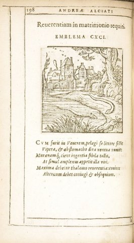 In fidem uxoriam (On faithfulness in a wife), emblem 190 in the book Emblemata by Andrea Alciato (Antwerp: Plantin [under the direction] of Raphelengius, 1608)