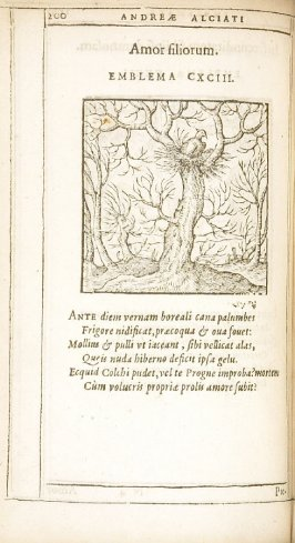 In foecunditatem sibiipsi damnosam (Fruitfulness bringing its own destruction), emblem 192 in the book Emblemata by Andrea Alciato (Antwerp: Plantin [under the direction] of Raphelengius, 1608)
