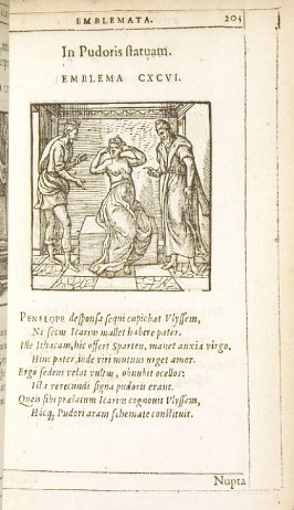 Nupta contagioso (A woman married to a diseased man), emblem 197 in the book Emblemata by Andrea Alciato (Antwerp: Plantin [under the direction] of Raphelengius, 1608)