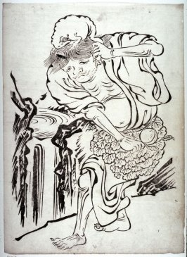 The Taoist Immortal Gama Carrying his Toad and a Peach, from a series of prints in the Kano style